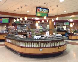 Cafeterial at University Hospitals, with numerous stations and video monitors