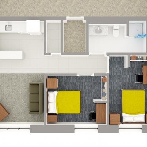 Village layout detailing half of an apartment with bedrooms, furniture, kitchen, and bathroom detail