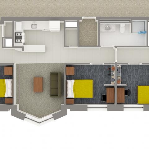 Village House 3 5-Person Apartment Layout detailing bedrooms, bathroom, kitchen, and furniture