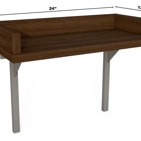 "Dark wood bed shelf with dimensions 17"" tall, 24"" long and 12"" wide"