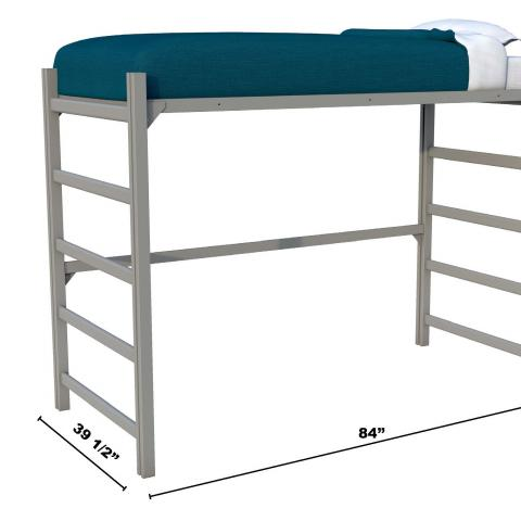 "Metal bed lofted with dimensions 60"" tall, 84"" long and 39.5"" wide"