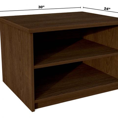 "Dark wood book case with dimensions 30"" X 24"" X 20"""