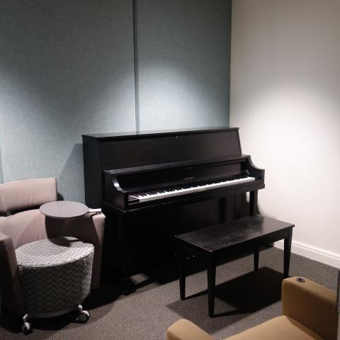 Village House 1 Basement Practice Room with Piano and Furniture
