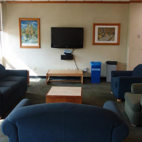 Norton House Common Room showing furniture, television, and coffee tables