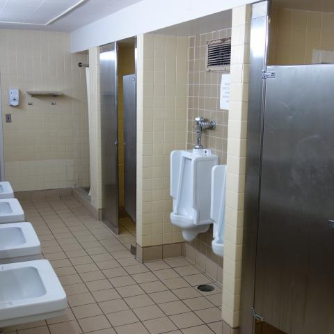 Hitchcock, Storrs, and Pierce Bathroom with sinks, urinals, shower stalls, and toilet stalls