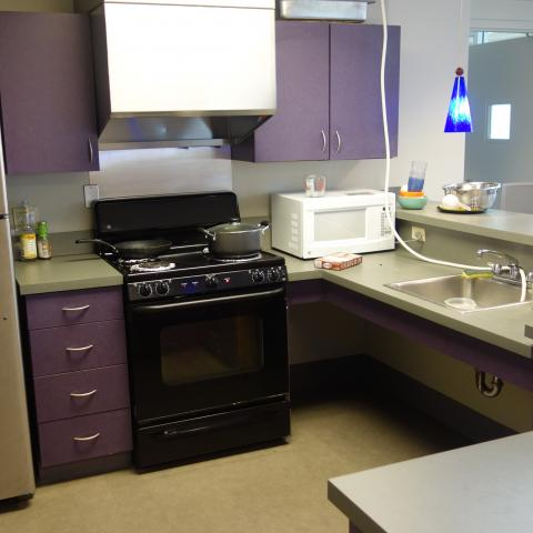 Alumni House Common Room Kitchen showing fridge, stove, sink, and microwave