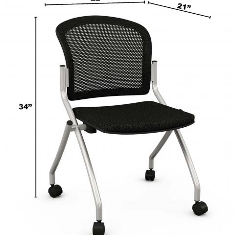 "Metal desk chair with dimensions 34"" X 22"" X 21"""