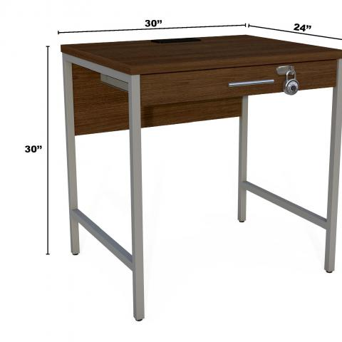 "Dark wood and metal desk with dimensions 30' X 30"" X 24"""