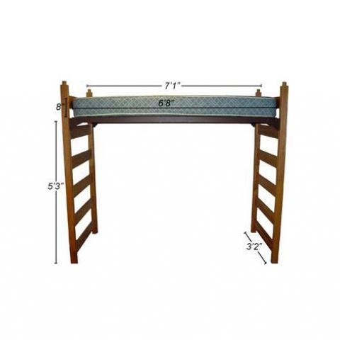 "Twin XL high lofted bed with dimensions 7'-1"" long, 3'-2"" wide, with mattress 6'-8"" with 5'-3"" floor to bed"