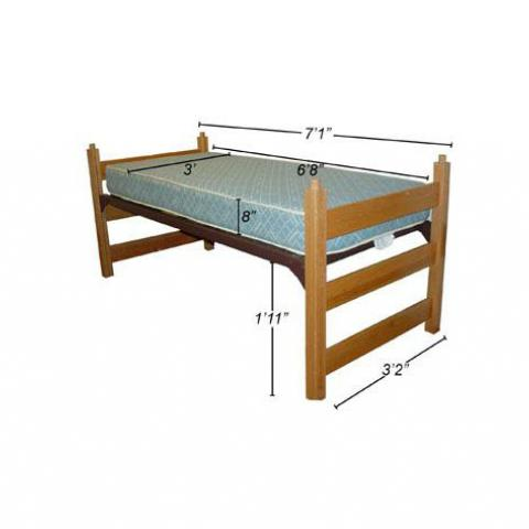 "Twin XL medium lofted bed with dimensions 7'-1"" long, 3'-2"" wide, with mattress 6'-8"" X 3' X 8"", with 1'-11"" floor to bed"