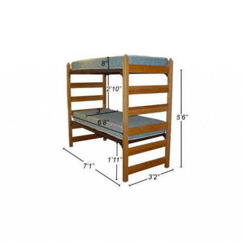 "Twin XL bunked beds with dimensions 5'-6"" tall, 7'-1"" long, 3'-2"" wide, with mattress 6'-8"" X 3' X 8"", with 1'-11"" floor to 1st bed, and 2'-10"" 1st to 2nd bed."