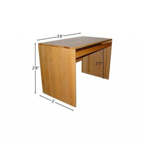 "Wood desk with dimensions 3'-6"" X 2'-6"" X 2', with 2'-1"" kneehole"
