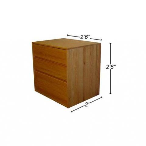 "Wood dresser with dimensions 2'-6"" X 2'-6"" X 2'"