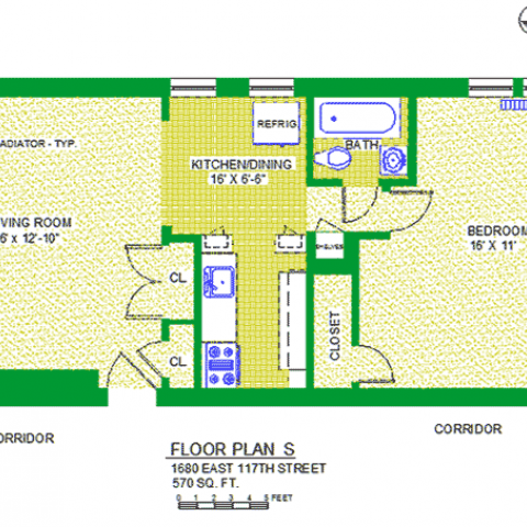 "Unit 102 Floor Plan S at 1680 east 117th street, 570 sq. fr., bedroom 16' X 11"", living room 16' X 12,-10"", kitchen/dining 16"" X 6'-5"", with bath, two corridors and radiator-typ, three closets and refrigerator"