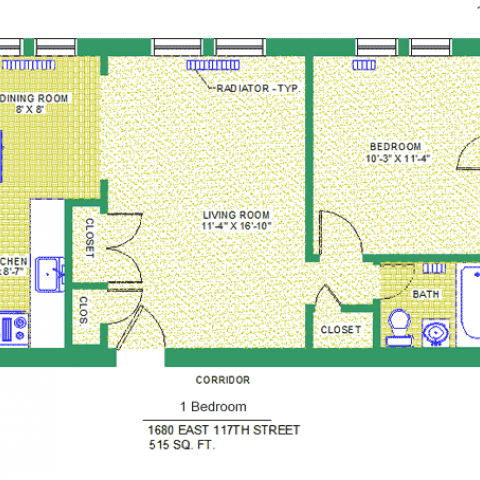 "Unit 204, 304, 404 Floor Plan, 1 bedroom at 1680 east 117th street, 515 sq. ft., bedroom 10'-3"" X 11'-4"", living room 11'-4"" X 16'-10"", kitchen 6' X 8'-7"", dining room 8' X 8', with bath, corridor and radiator-typ, four closets, and refrigerator"