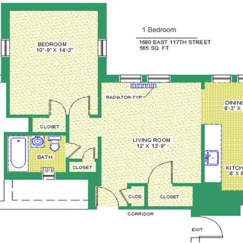 "Unit 206, 306, 406 Floor Plan, 1 bedroom at 1680 east 117th street, 565 sq. ft., bedroom 10'-9"" X 14'-2"", living room 12' X 13'-9"", kitchen, 8' X 8', dining 8'-3"" X 8', with bath, corridor, and radiator-typ, four closets, refrigerator and exit"