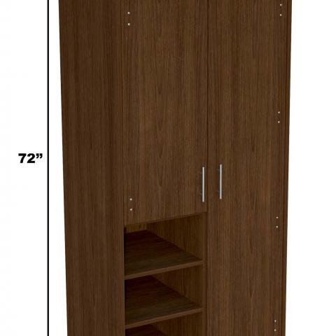 "Dark wood wardrobe with dimensions 72"" tall, 36"" long and 24"" wide"