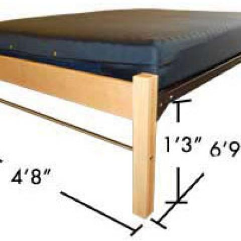 "Full size bed with dimensions 6'-9"" long, 2' tall, and 4'-8"" wide, with 1'3"" from floor to bed."