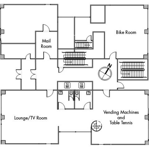 Clarke Tower Floor 1 plan, with two elevators, two restrooms, mail room, bike room, room with vending machine and table tennis, and room with lounge and TV, with three stairwells and a northwest orientation