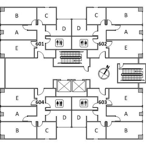 Clarke Tower Floor 6 plan, room 601 A,B,C,D, and E, room 602 A,B,C,D, and E, room 603, A,B,C,D, and E, room 604 A,B,C,D and E, with four restrooms, two stairs and a northwest orientation
