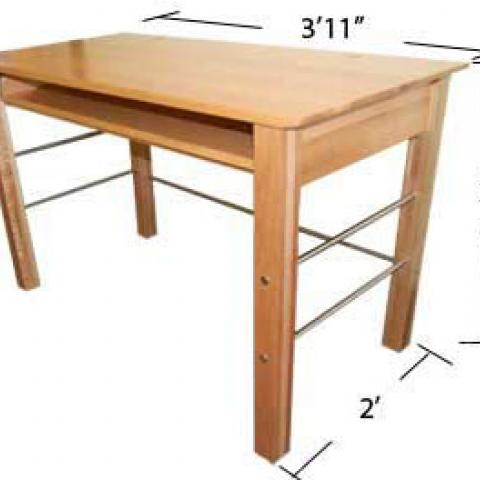 "Village and STJ desk with dimensions 2'-7"" tall, 3'-11"" long and 2' wide"