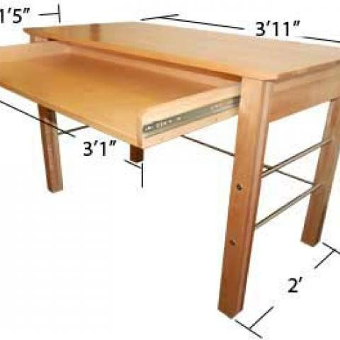 "Village and STJ desk with extended drawer with dimensions 2'-7"" tall, 3'-11"" long an d2' wide, with drawer 3'-1"" X 1'-5"" X 2"""