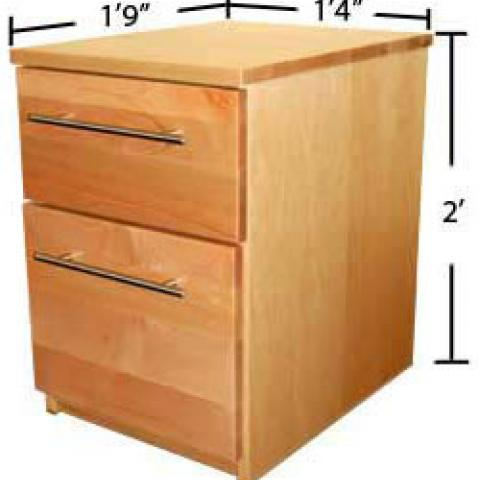 "Village and STJ file cabinet with dimensions 2' tall, 1'-9"" long and 1'-4"" wide"