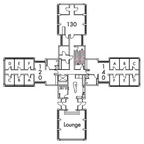 Kusch House Floor 1 plan, rooms 120 A,B,C,D,E and F, 130, and 140 A,B,C,D E and F  with lounge, three bathroom and one stairwell.