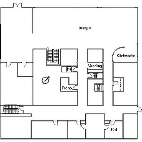 Raymond House Floor 1 plan, with room 104, kitchenette, two restrooms, elevator, vending machine, lounge, piano, two stairwells and a northwestern orientation.