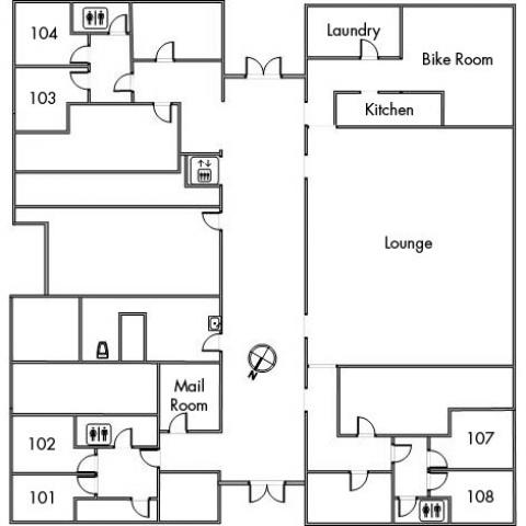 Hitchcock House Floor 1 plan, room 101, 102, 103, 104, 107 and 108, with mail room, bike room, laundry, kitchen, lounge, three bathrooms, elevator and a southeast orientation.