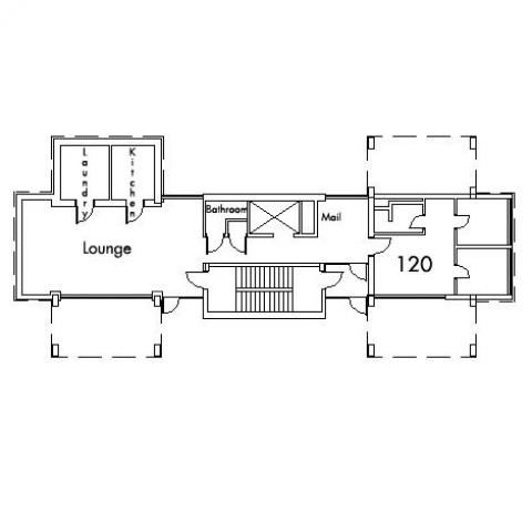 Howe House Floor 1 plan, with room 120, mail room, bathroom, lounge, kitchen, laundry and stairwell.