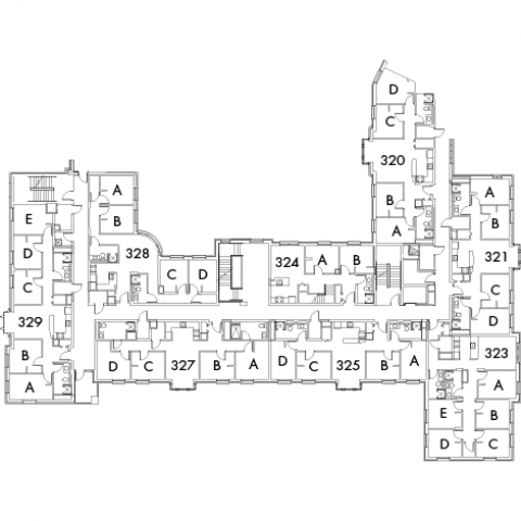Village House 2 Floor 3 plan, rooms 324 A and B, 320 A,B,C and D, 321 A,B,C and D, 323 A,B,C,D and E, 325 A,B,C and D, 327 A,B,C and D, 328 A,B,C and D, 329 A,B,C,D and E with four stairwell.