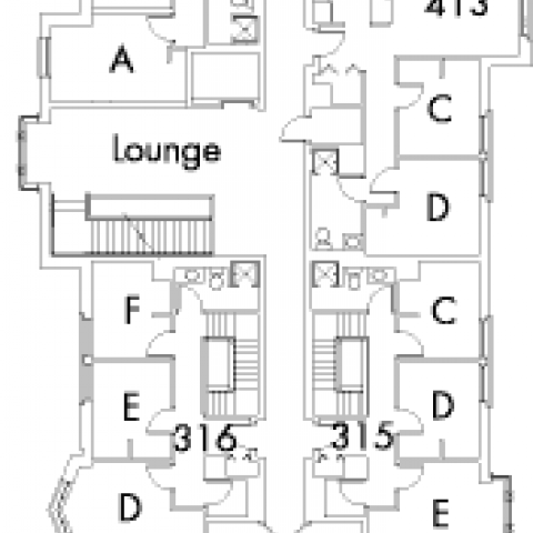Village House 1 Floor 4, rooms 315 C,Dand E, 316 D,E and F, 317 C,D and E, 318 C,D and E, 411 A,B,C,D and E, 413 A,B,C and D, with lounge and 6 stairwell.