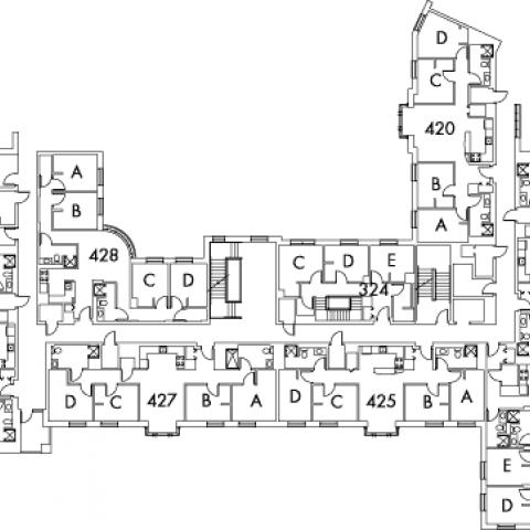 Village House 2 Floor 4 plan, rooms 324 C,D and E, 420 A,B,C and D, 421 A,B,C and D, 423 A,B,C,D and E, 425 A,B,C and D, 427 A,B,C and D, 428 A,B,C and D, 429 A,B,C,D and E with four stairwell.