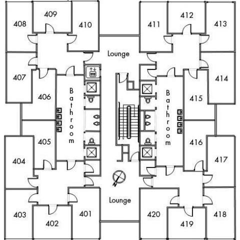 Pierce House Floor 4 plan, room 401, 402, 403, 404, 405, 406, 407, 408, 409, 410, 411, 412, 413, 414, 415, 416, 417, 418, 419, and 420, with two bathrooms, elevator, two lounges, one stairwell and a southeast orientation.
