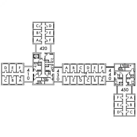 Alumni House Floor 4 plan, rooms 410 A,B,C,D,E and F, 420 A,B,C,D E and F, 430 A,B,C,D,E and F, 440 A,B,C,D,E and F, and 450 A,B,C,D,E and F, with six bathroom, and two stairwell