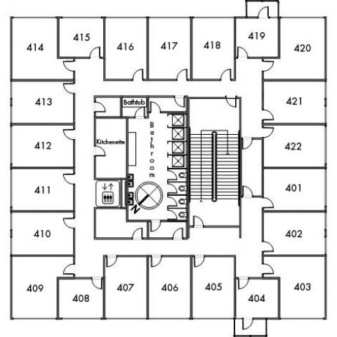 Norton House Floor 4 plan, room 401, 402, 403, 404, 405, 406, 407, 408, 409, 410, 411, 412, 413, 414, 415, 416, 417, 418, 419, 420, 421 and 422, with bathroom, elevator, kitchenette, bathtub, one stairwell and a southeast orientation.