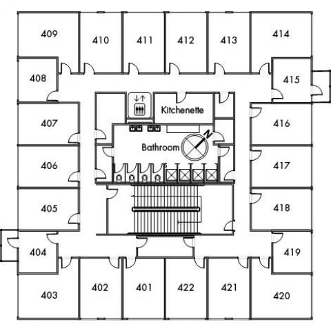 Sherman House Floor 4 plan, room 401, 402, 403, 404, 405, 406, 407, 408, 409, 410, 411, 412, 413, 414, 415, 416, 417, 418, 419, 420, 421 and 422, with bathroom, elevator, kitchenette, one stairwell and a northwest orientation.