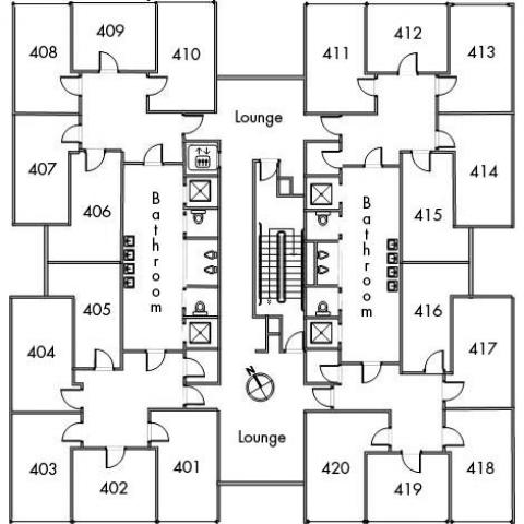 Cutler House Floor 4 plan, room 401, 402, 403, 404, 405, 406, 407, 408, 409, 410, 411, 412, 413, 414, 415, 416, 417, 418, 419, and 420, with two bathrooms, elevator, two lounges, one stairwell and a northeast orientation.