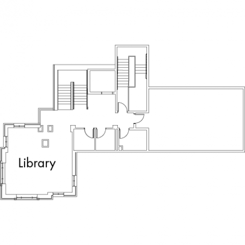 Village House 3A Floor 5 plan, with library and two stairwell.