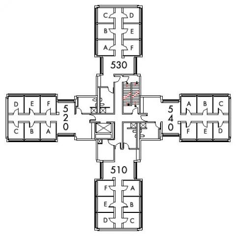 Glaser House Floor 5 plan, rooms 510 A,B,C,D,E and F, 520 A,B,C,D E and F, 530 A,B,C,D,E and F, and 540 A,B,C,D,E and F, with four bathroom and one stairwell.