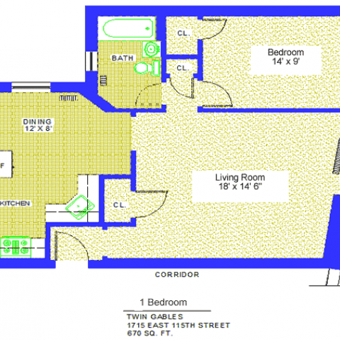 "Unit 4, 10, 18 Floor Plan one bedroom at 1715 East 115th street, 670 sq. ft., bedroom 14' X 9', living room, 18' X 14'-6"", kitchen, dining 12' X 8', with refrigerator, corridor, three closets and bath"