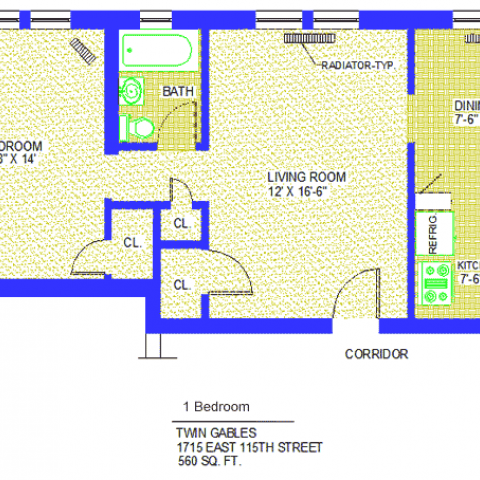 "Unit 3, 6, 14, 22 Floor Plan one bedroom at 1715 East 115th street, 560 sq. ft., bedroom 9'-8"" X 14', living room, 12' X 16'-6"", kitchen 7'-6"" X 6', dining 7'-6"" X 9', with refrigerator, corridor, three closets, radiator-typ and bath"