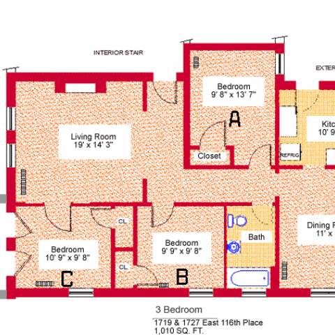 "Units 2, 4, and 6, three-bedroom apartment at 1719 and 1727 East 116th place, 1010 sq. ft., three bedrooms (A,B and C), 9'-8"" X 13'-7"", 9'-9"" X 9'-8"" and 10'-9"" X 9'-8"", living room 19' X 14'-3"", kitchen 10'-9"" X 9', dining room 11' X 14', with bath, interior stair, exterior stair, porch, three closets and refrigerator"