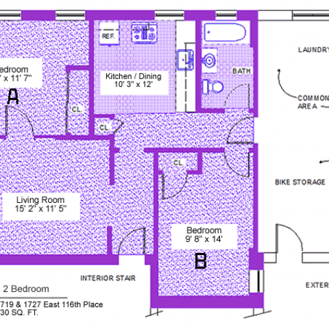 "Unit 7, two-bedroom apartment at 1719 and 1727 East 116th place, 730 sq. ft., two bedrooms (A and B), 13' X 11'-7"" and 9'-8"" X 14', living room 15'-2"" X 11'-5"", kitchen/dining 10'-3"" X 12', with bath, interior stair, exterior stair, laundry, common area, bike storage, three closets and refrigerator"