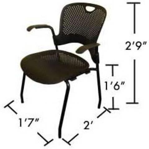"Village and STJ desk chair with dimensions 2'-9"" tall, 2' X 1'-7"" base, and 1'-6"" from floor to seat"
