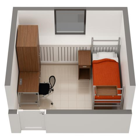 Clarke Tower sample single room layout