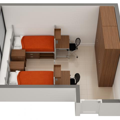 Cutler House sample double room layout