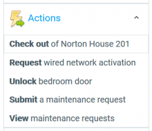 MyHousing menu showing available Actions
