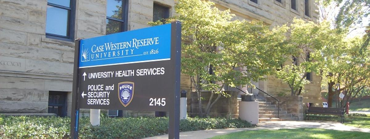 Sign outside of the University Health Services building